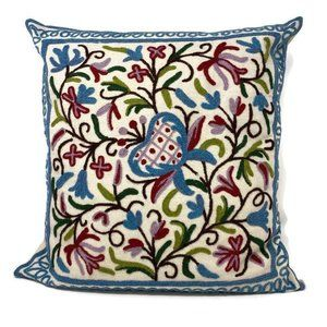 Floral Embroidered Spring Summer Decor Pillow